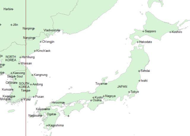 日本に主要ラインの通らないアストロマップ